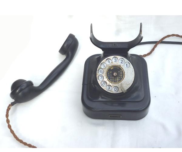 ● 通信道具 黒電話 < 電話機 > ダイヤル式電話  ジャンク ●_画像8