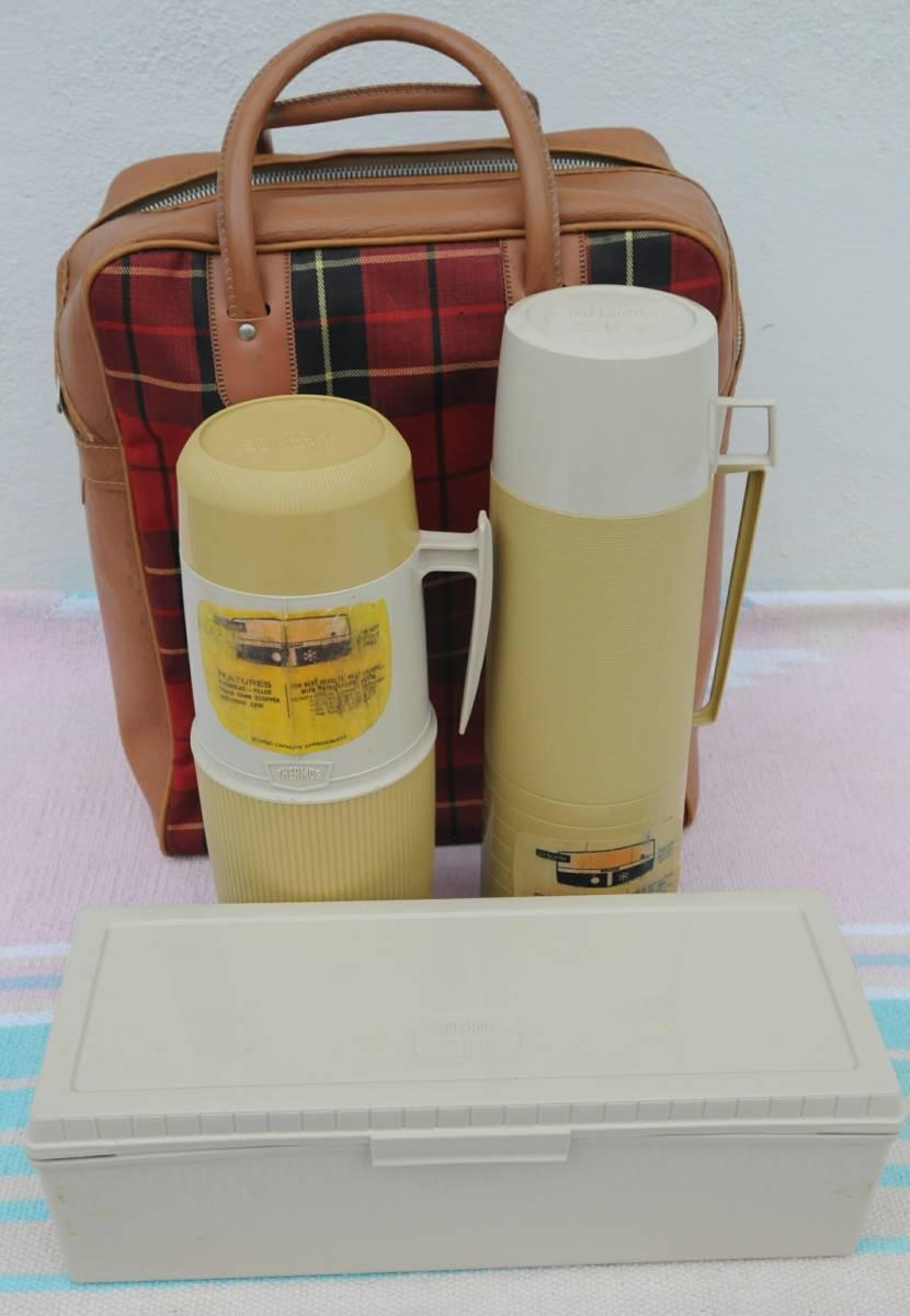 サーモス ピクニック セット 魔法瓶 MADE IN U.S.A. おしゃれキャンプ チェック バッグ_画像1