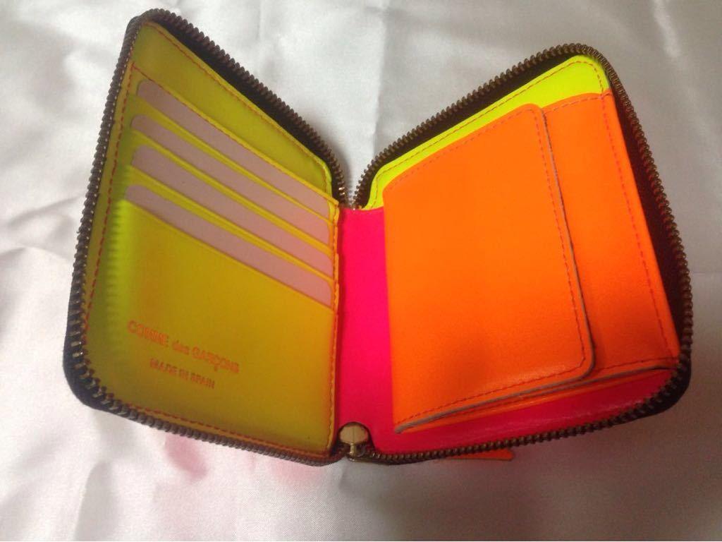 f47a1995dabe 美品 COMME des GARCONS 財布 スペイン製 コムデギャルソン ピンク イエロー オレンジ 即決あり _画像