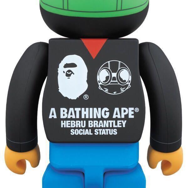 【新品】A BATHING APE (R) × HEBRU BRANTLEY × SOCIAL STATUS BE@RBRICK 400% 100% 2体セット ベアブリック medicom toy _画像3