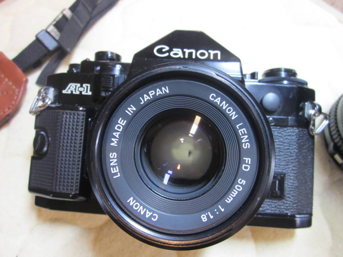ジャンク品にて、Canon キヤノン A-1 、NFD 50mm F1.8,35-105㎜,100―300㎜ 当時ものストラップ付_画像4