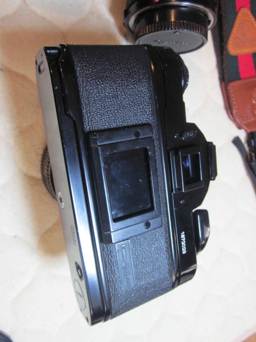 ジャンク品にて、Canon キヤノン A-1 、NFD 50mm F1.8,35-105㎜,100―300㎜ 当時ものストラップ付_画像6