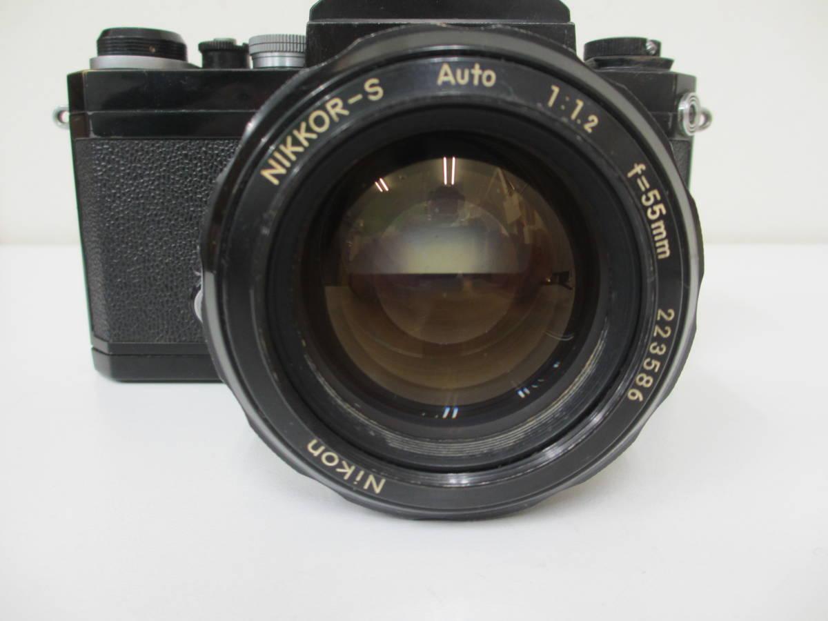 NIKON ニコン F ブラック 7265563 カメラ 1:1.2 f=55mmレンズ付 中古_画像3