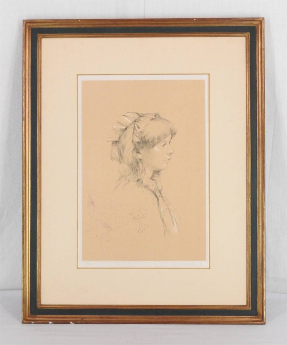 《リトグラフ》中山忠彦 鉛筆サイン 額装 洋画家 日本芸術院会員 白日会