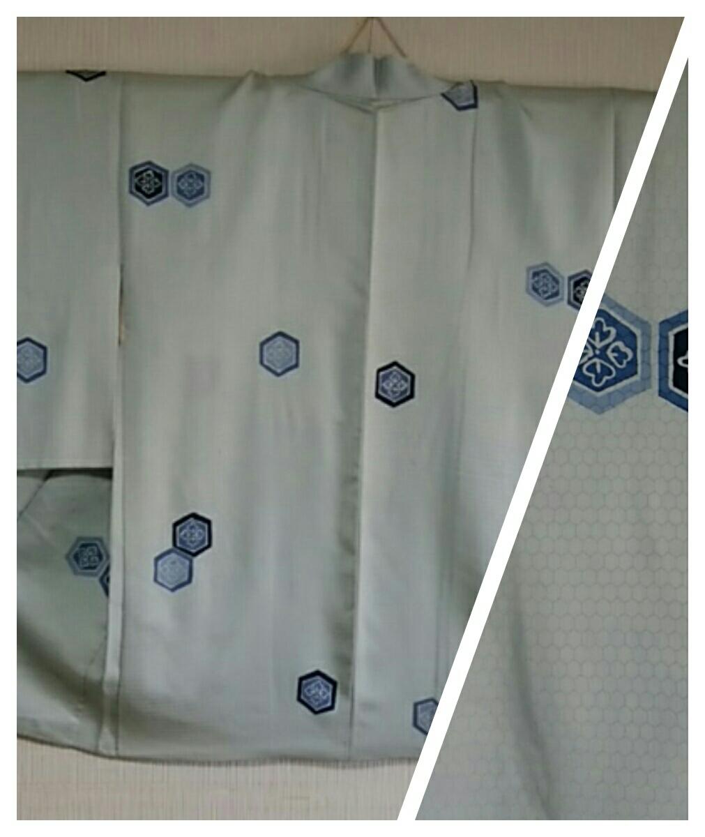 [お洒落羽織]正絹/袷/羽織丈80cm/羽織紐/瓶覗き色/亀甲の地模様に亀甲の柄