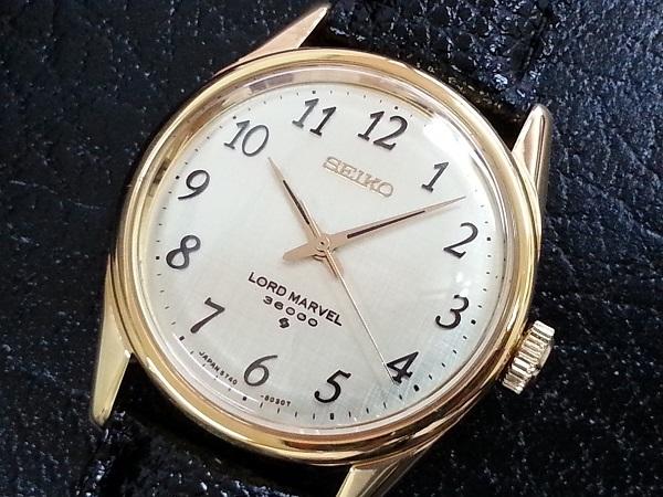 大野時計店 セイコー ロードマーベル 5740-8000 手巻 1973年5月製造 36000ビート 金色 アラビア数字 希少_画像1