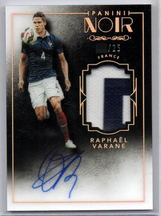 2016-17 Panini Noir Soccer Raphael Varane Patch Auto Prime /25 直筆サインカード 送料無料