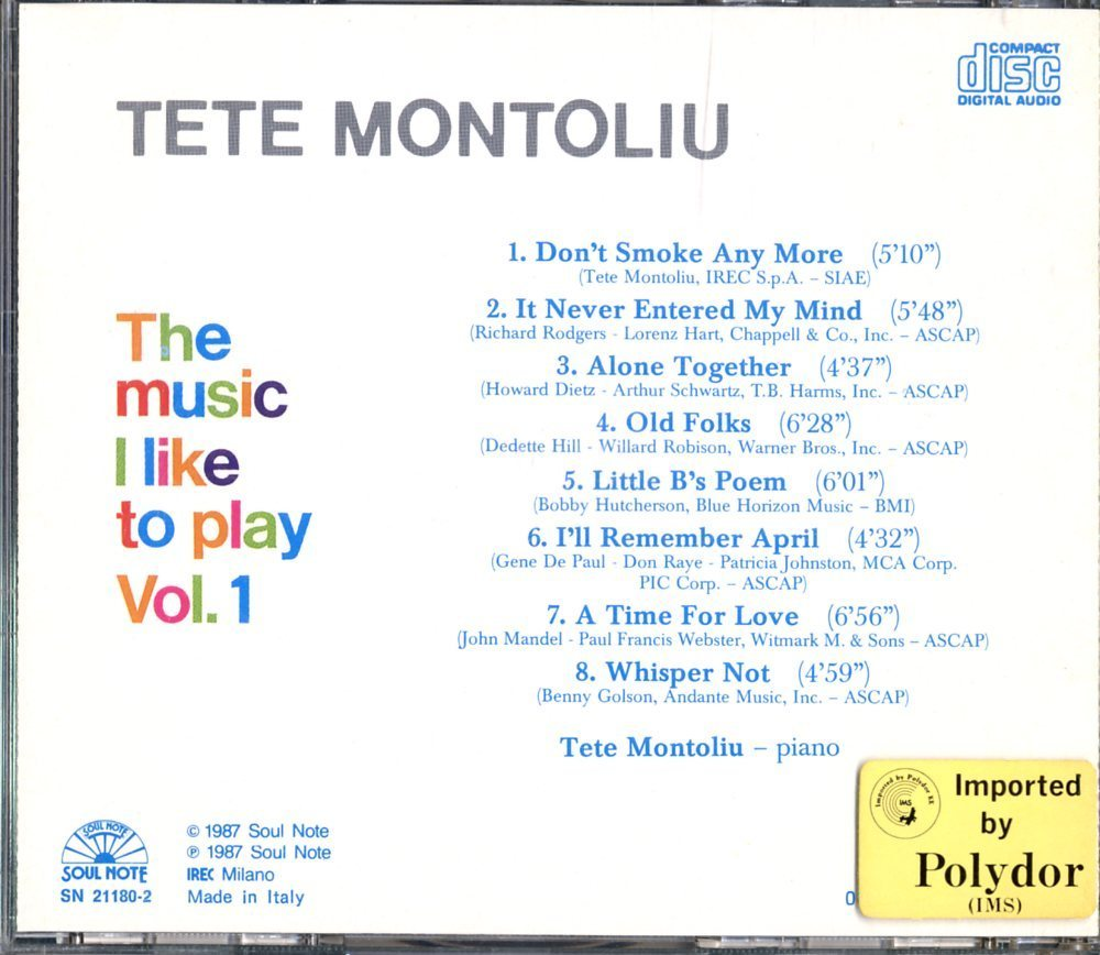 CD☆Tete Montoliu / The Music I Like To Play - Vol. 1 / SN 21180-2_画像2