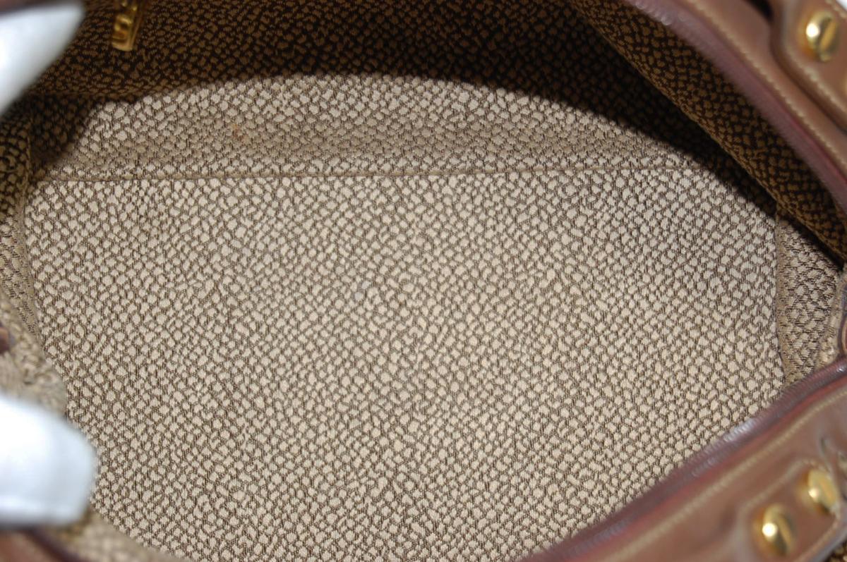 ボルボネーゼ Borbonese うずら柄 スエードレザー ドーム型 ハンドバッグ レディスバッグ_画像5