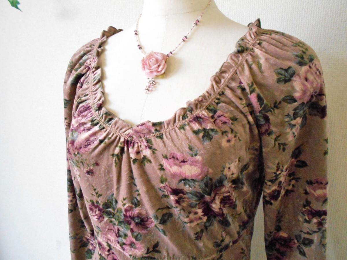 レストローズ LEST ROSE 秋冬 向き 花柄 の 可愛い ベロア カットソー M_画像3
