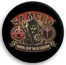 Sons Of Anarchy (サンズ オブ アナーキー) MEN OF MAYHEM BUTTON 缶バッジ (ピンタイプ)☆_画像1