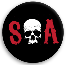Sons Of Anarchy (サンズ オブ アナーキー) SOA RED BUTTONSED 缶バッジ (ピンタイプ)☆_画像1