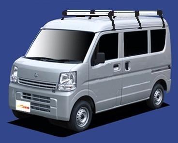 〓スズキ エブリィ(車両型式 DA17V/DA17W/年式H27.2-)ハイルーフ用 ロングサイズ キャリアHH437A《6本脚・アルミ素材》業販専用品_イメージ画像です