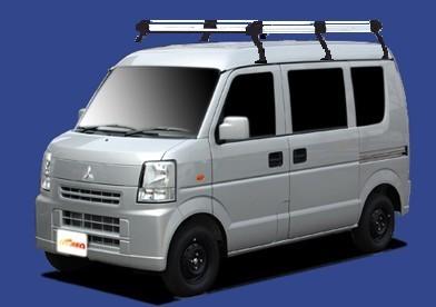 〓三菱 ミニキャブ(車両型式 DS64V/年式H26.2-H27.3)ハイルーフ用 ロングサイズ キャリアHH236C《6本脚・アルミ素材》業販専用品_イメージ画像です