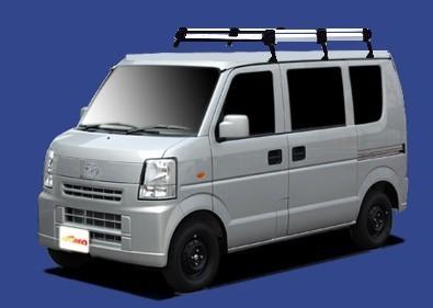 〓マツダ スクラム(車両型式 DG64V/DG64W/年式H17.9-H27.3)標準ルーフ用 ミドルサイズ キャリアHL434C《6本脚・アルミ素材》業販専用_イメージ画像です