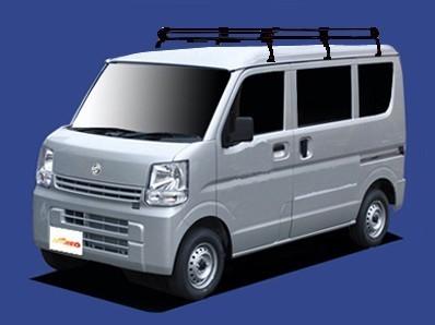 〓日産 NV100クリッパー(車両型式 DR17V/年式H27.3-)標準ルーフ用 ロングサイズ キャリアPL437A《4本脚・スチール黒色塗装》業販専用_イメージ画像です