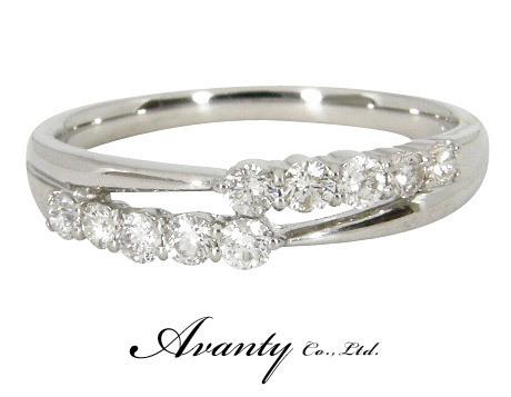 【Avanty】プラチナ900 2連エタニティリング ダイヤ10石 0.3ct_画像1