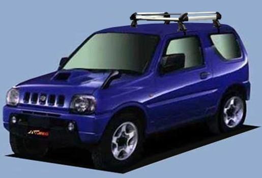 〓スズキ ジムニー(JB23W/年式H10.10-H30.6)ルーフレール無車用 ショートサイズ キャリアHE22D1《4本脚・アルミ素材》業販専用品_イメージ画像です