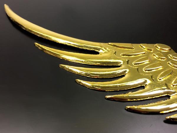 送料無料 3D立体エンブレムステッカー 金色 天使 翼 羽[W]/g22_画像2