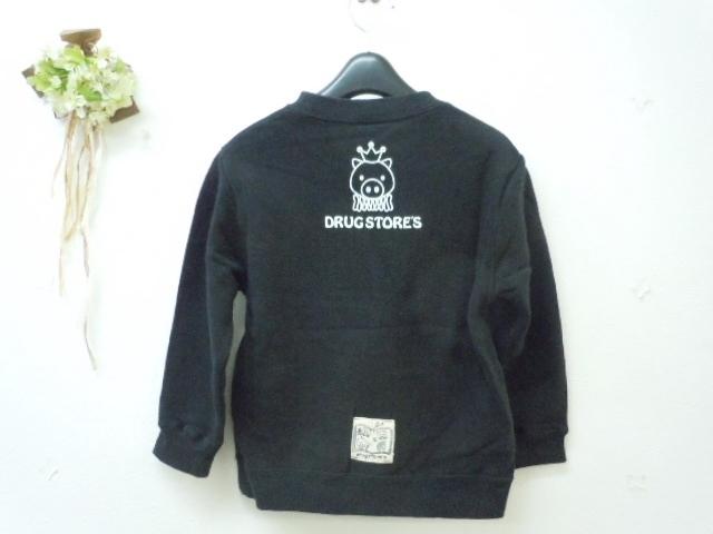 ドラッグストアーズ DRUGSTORES キッズ 110cm 長袖 トレーナー トップス 黒 ブラック リンゴ_画像5