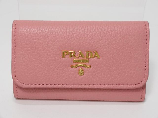 PRADA プラダ 6連キーケース ピンク レザー 1PG222 H213 中古_画像1