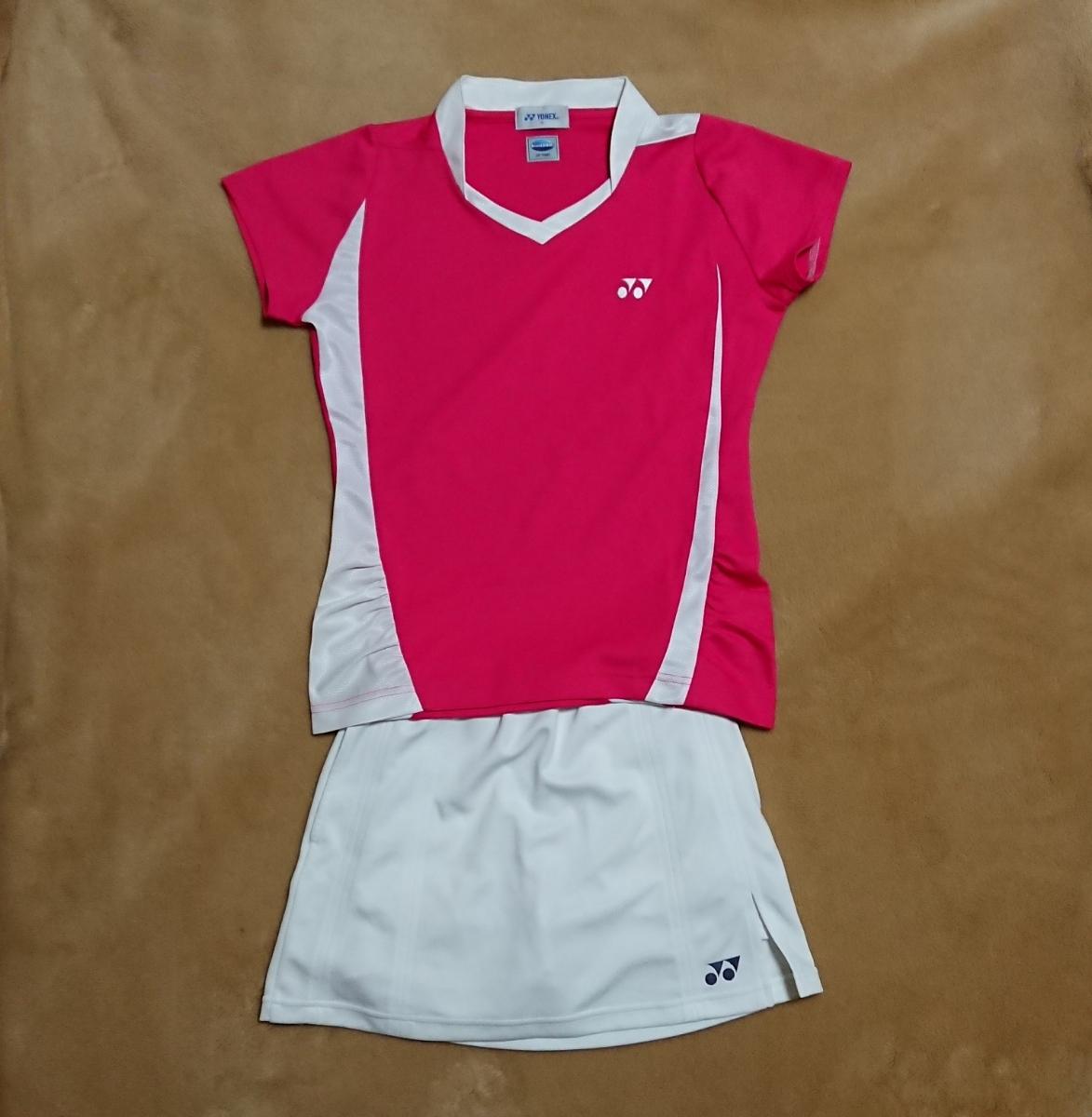 99806a40b4133a テニスウェア 上下セット ピンク白 ヨネックス YONEX ピンク 中古 美品?