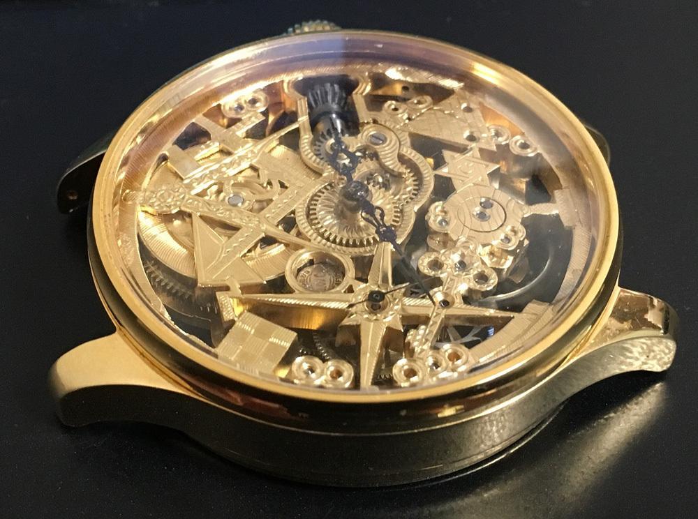 下取&値引き交渉あり 1889年 IWC 懐中時計のムーブメント使用 カスタム時計 フリーメイソンフルエングレービングフルスケルトン_画像3