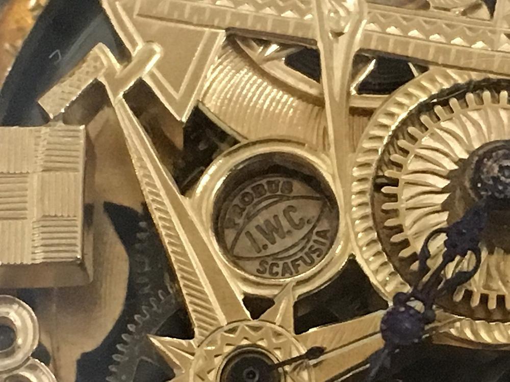 下取&値引き交渉あり 1889年 IWC 懐中時計のムーブメント使用 カスタム時計 フリーメイソンフルエングレービングフルスケルトン_画像4