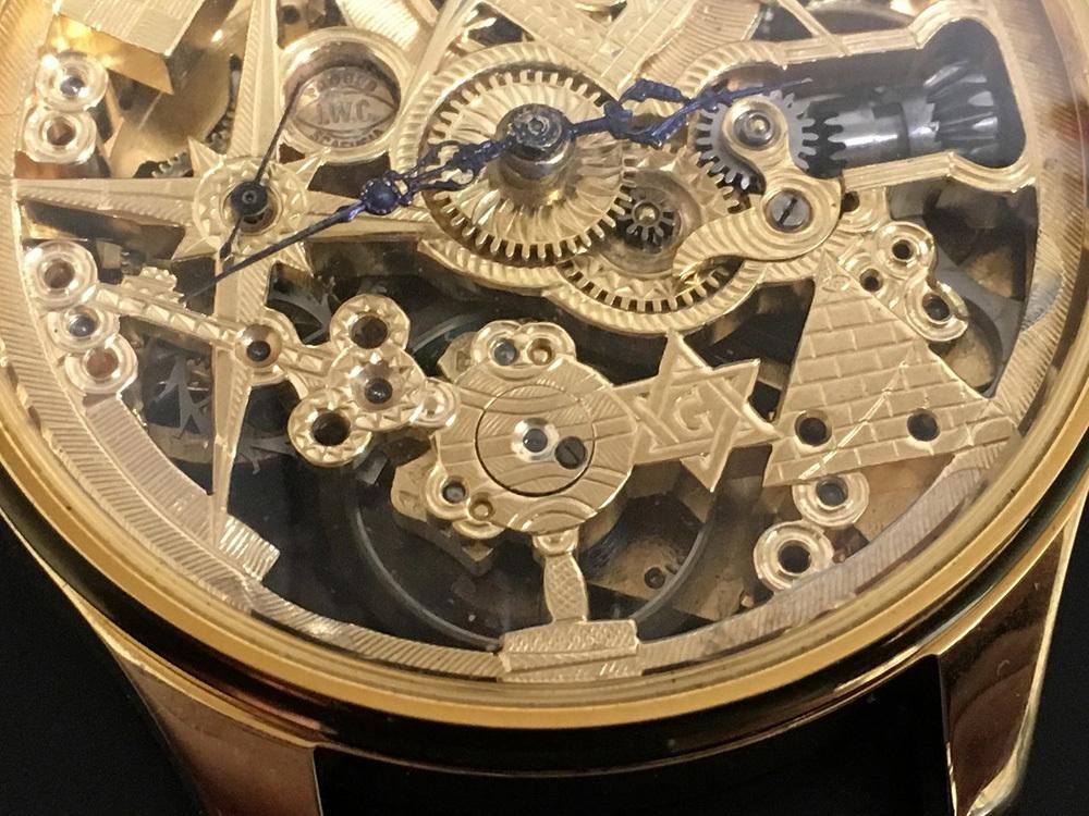 下取&値引き交渉あり 1889年 IWC 懐中時計のムーブメント使用 カスタム時計 フリーメイソンフルエングレービングフルスケルトン_画像6