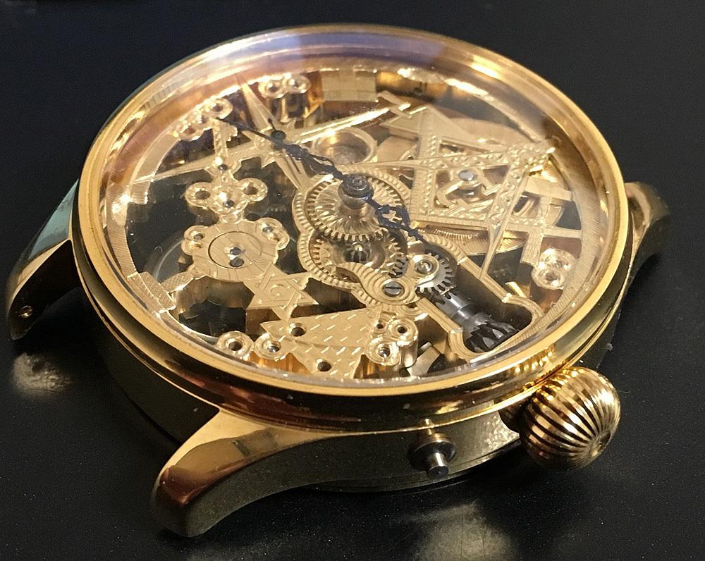 下取&値引き交渉あり 1889年 IWC 懐中時計のムーブメント使用 カスタム時計 フリーメイソンフルエングレービングフルスケルトン_画像2