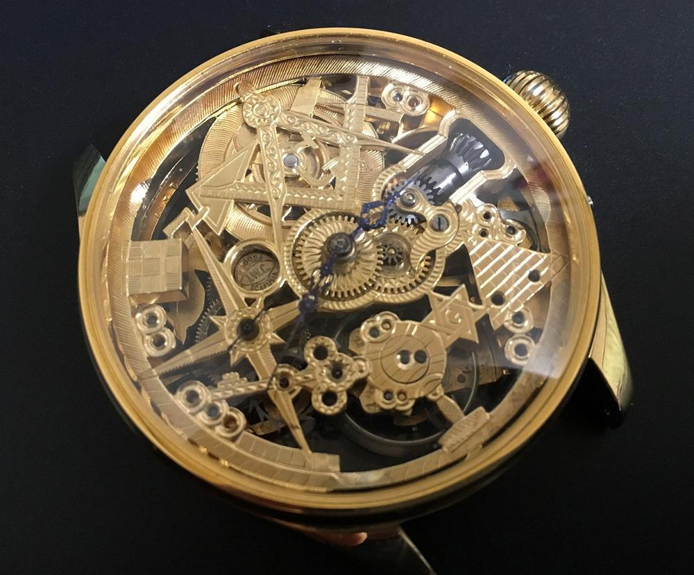 下取&値引き交渉あり 1889年 IWC 懐中時計のムーブメント使用 カスタム時計 フリーメイソンフルエングレービングフルスケルトン_画像1