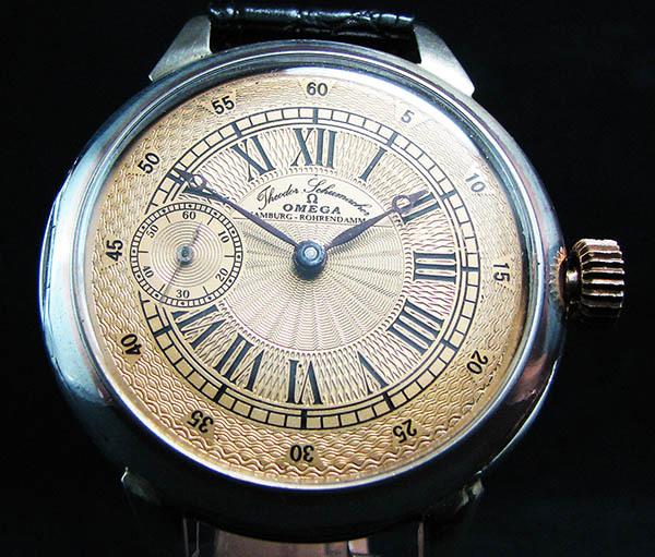 下取&値引き交渉あり オメガ懐中時計のムーブメント使用 カスタム腕時計 オリジナル銀無垢ケース 金ギョーシェ文字盤Ⅱ_画像2