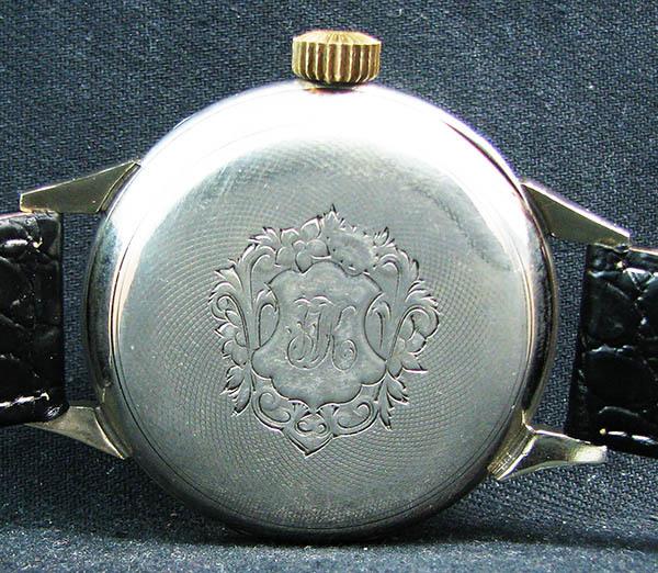 下取&値引き交渉あり オメガ懐中時計のムーブメント使用 カスタム腕時計 オリジナル銀無垢ケース 金ギョーシェ文字盤Ⅱ_画像4
