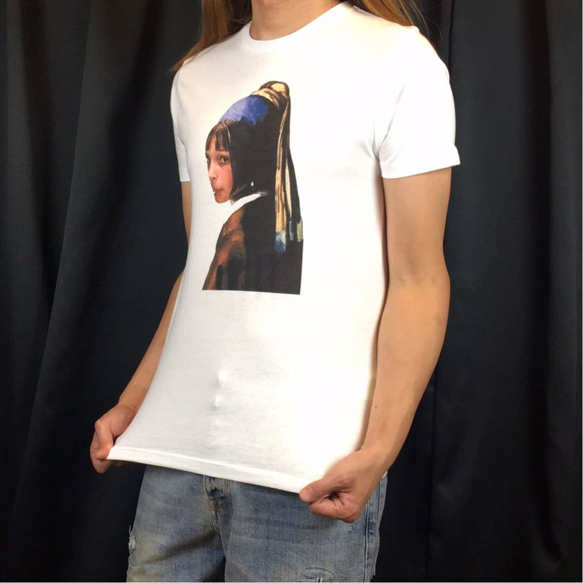 新品 映画 LEON レオン マチルダ フェルメール 真珠の耳飾りの少女 Tシャツ コラージュ デザイン S M L XL ビッグ サイズ XXL~5XL 長袖 OK_画像3
