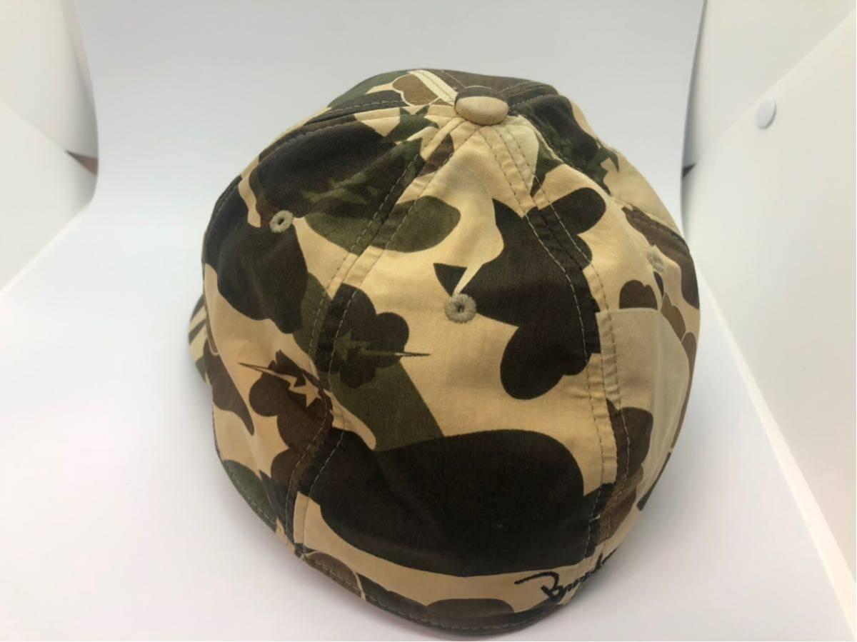 A BATHING APE アベイシングエイプ BAPE コラボ KAWS カモフラ 猿迷彩 コットン キャップ 帽子 CAP Original Fake COMPANION  シャーク_画像3