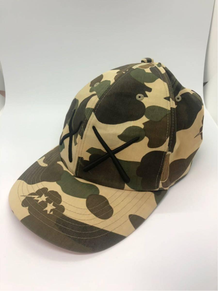 A BATHING APE アベイシングエイプ BAPE コラボ KAWS カモフラ 猿迷彩 コットン キャップ 帽子 CAP Original Fake COMPANION  シャーク_画像1