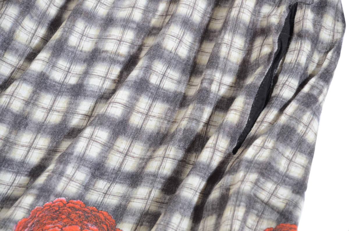 かわいい!! MIRIAM OCARIZ ミリアムオカリス チェックドット花柄 ウールガーゼワンピース 42/11号 スペイン製 アッシュペー _画像4