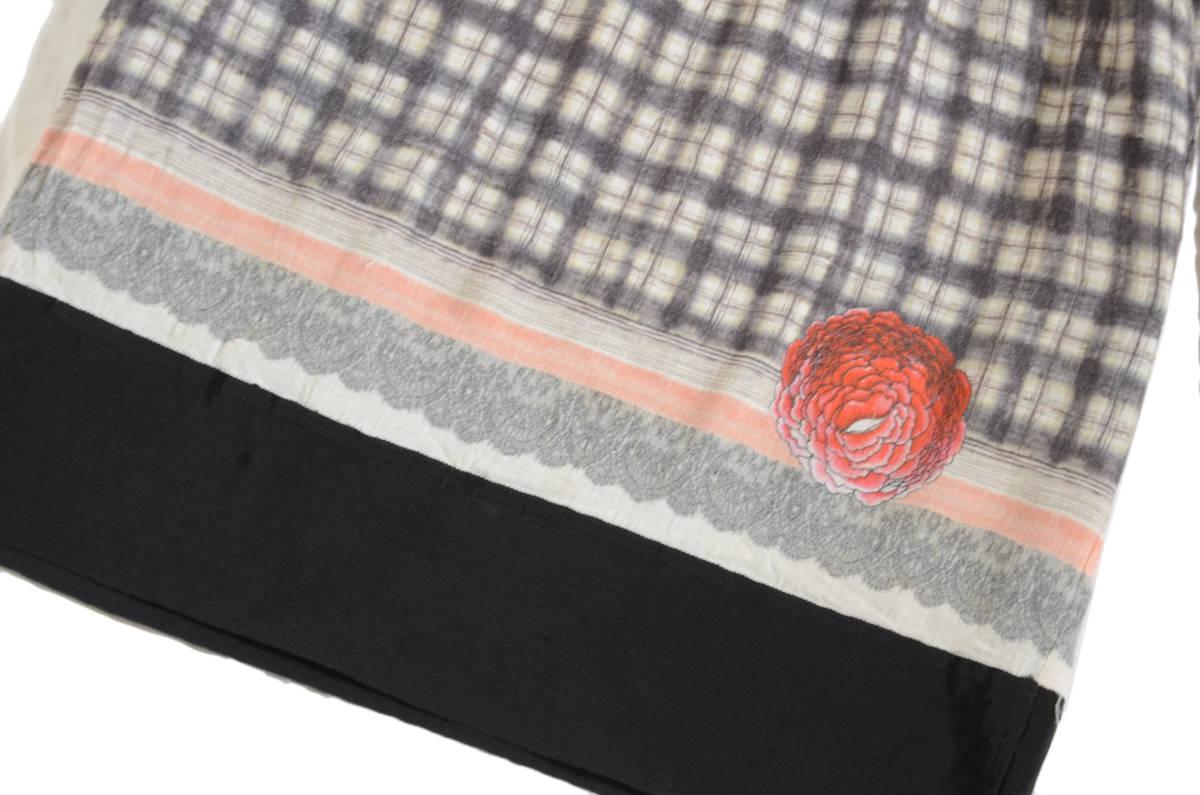 かわいい!! MIRIAM OCARIZ ミリアムオカリス チェックドット花柄 ウールガーゼワンピース 42/11号 スペイン製 アッシュペー _画像5