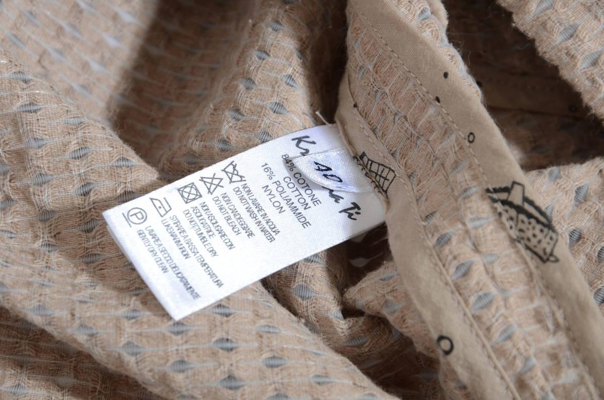 素敵!Kristina ti クリスティーナティ コットンノーカラーデザインコート ベージュ 40/9号 イタリア製_画像10