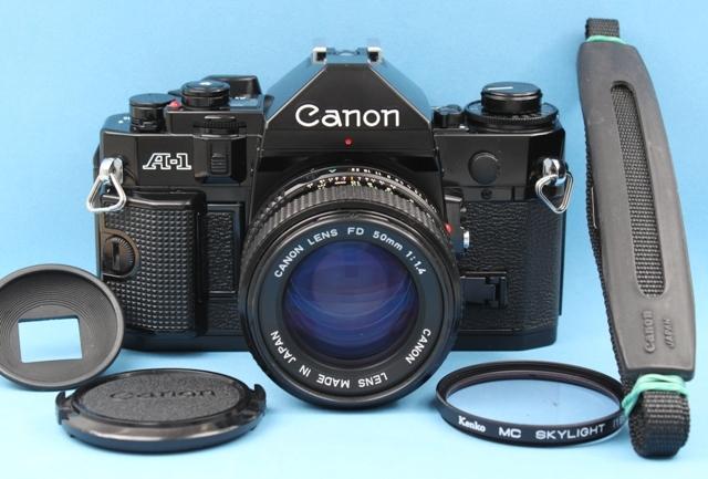 美品 Canon A-1 New FD 50mm 1:1.4 シャッター鳴きなし 露出計作動確認済み ファインダー・レンズきれい キヤノン ジャンクで