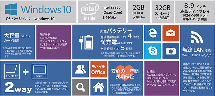 送料無料 8.9インチ ノートパソコン タブレット Windows10 ミニノート_画像2