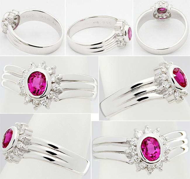 上品 綺麗★ピンクサファイア 0.3ct ダイヤ 0.16 K18WG リング 指輪 ルビー V字 9号♪鑑別付_画像2