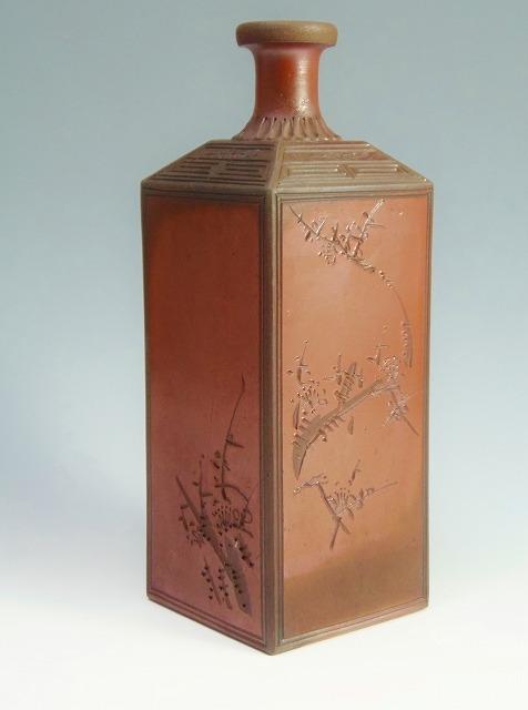 美品 金重製 江戸時代 後期 角徳利 梅模様  古備前 徳利 骨董品 備前焼 骨董 古美術品 陶器 置物 花入 花瓶 花器 一輪挿し
