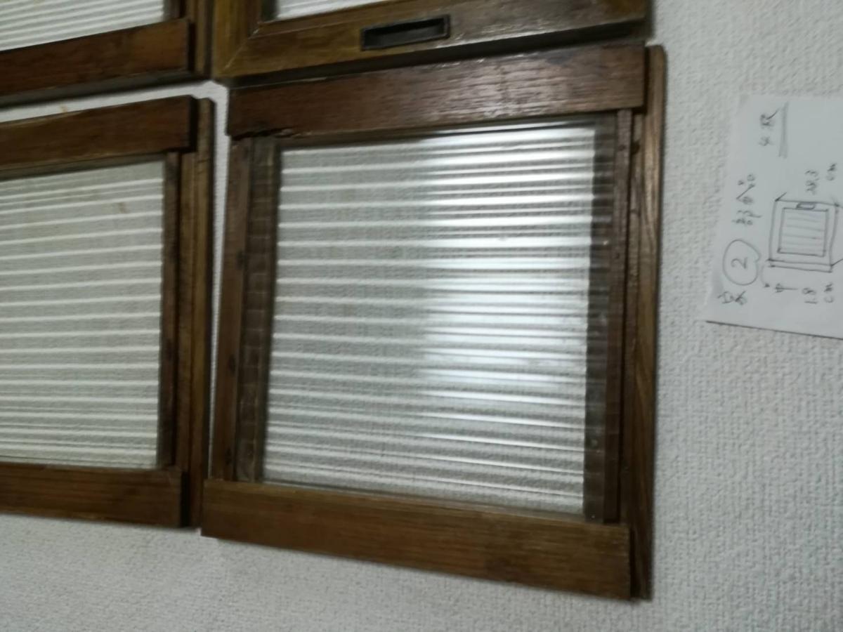 アンティーク 棚 引戸 縦縞ガラス 4枚_画像4