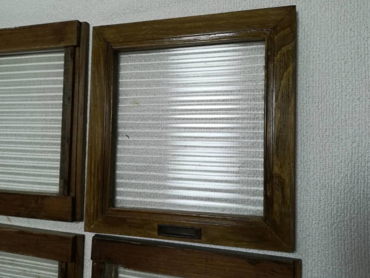 アンティーク 棚 引戸 縦縞ガラス 4枚_画像6