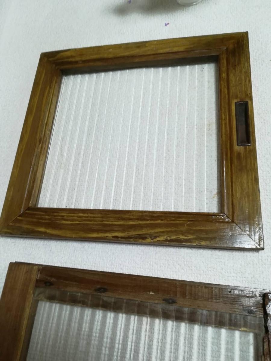 アンティーク 棚 引戸 縦縞ガラス 4枚_画像7