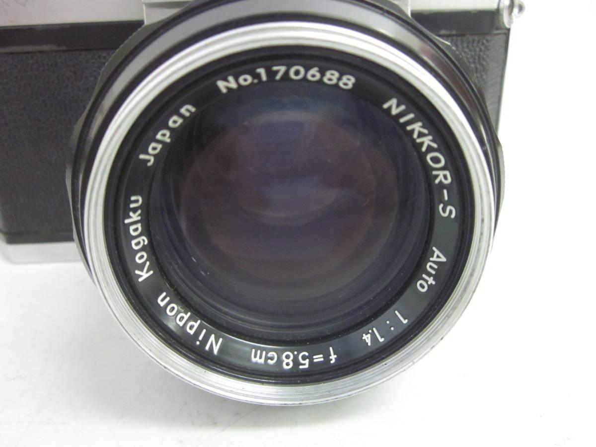 08 78-81817-10 Nikon ニコン F アイレベル 一眼レフ カメラ 1:1.4 f=5.8cm 埼78_画像3