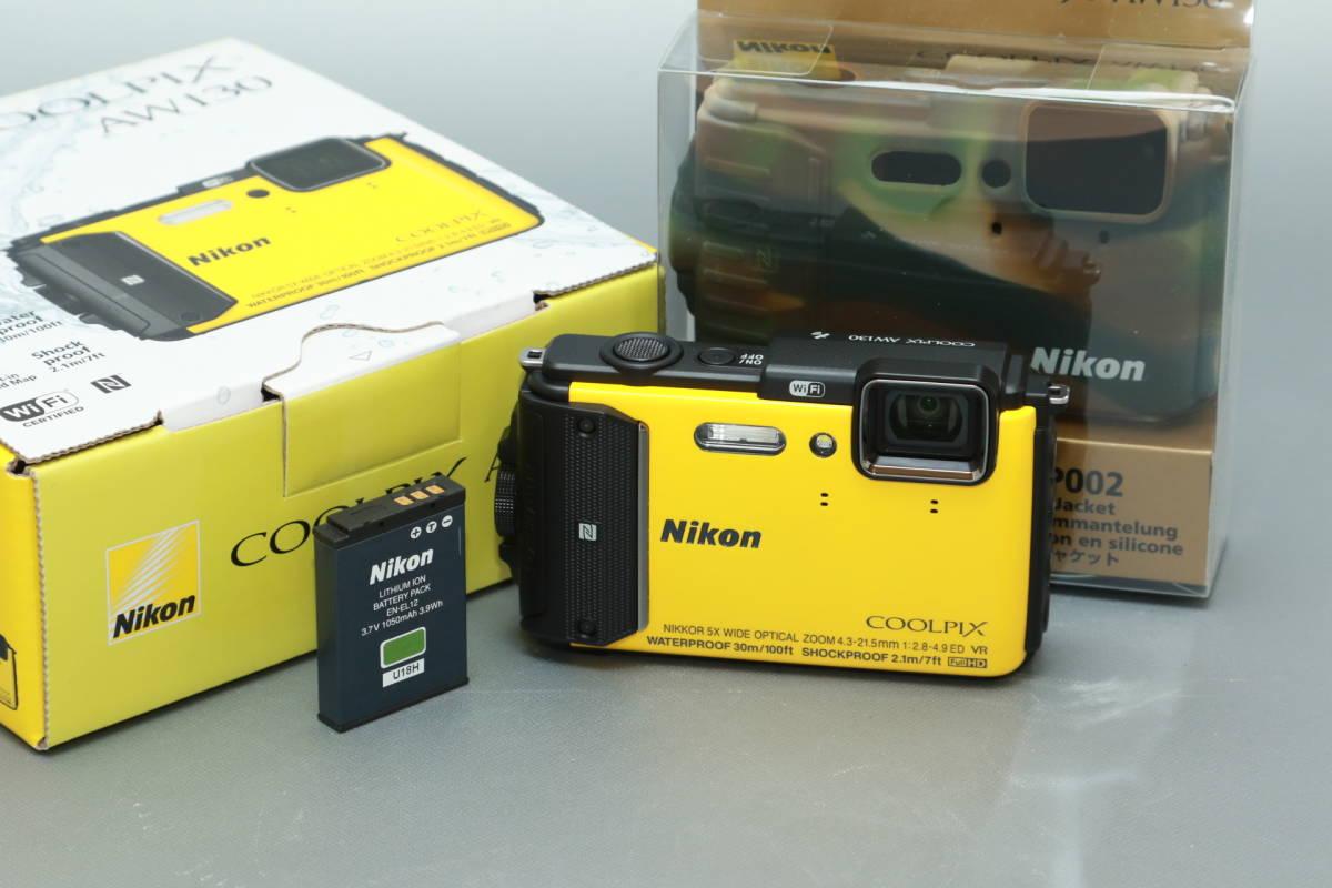 ★未使用品 Nikon 防水・防塵・耐ショックカメラ COOLPIX AW130 イエロー シリコンジャケット 予備バッテリー付★