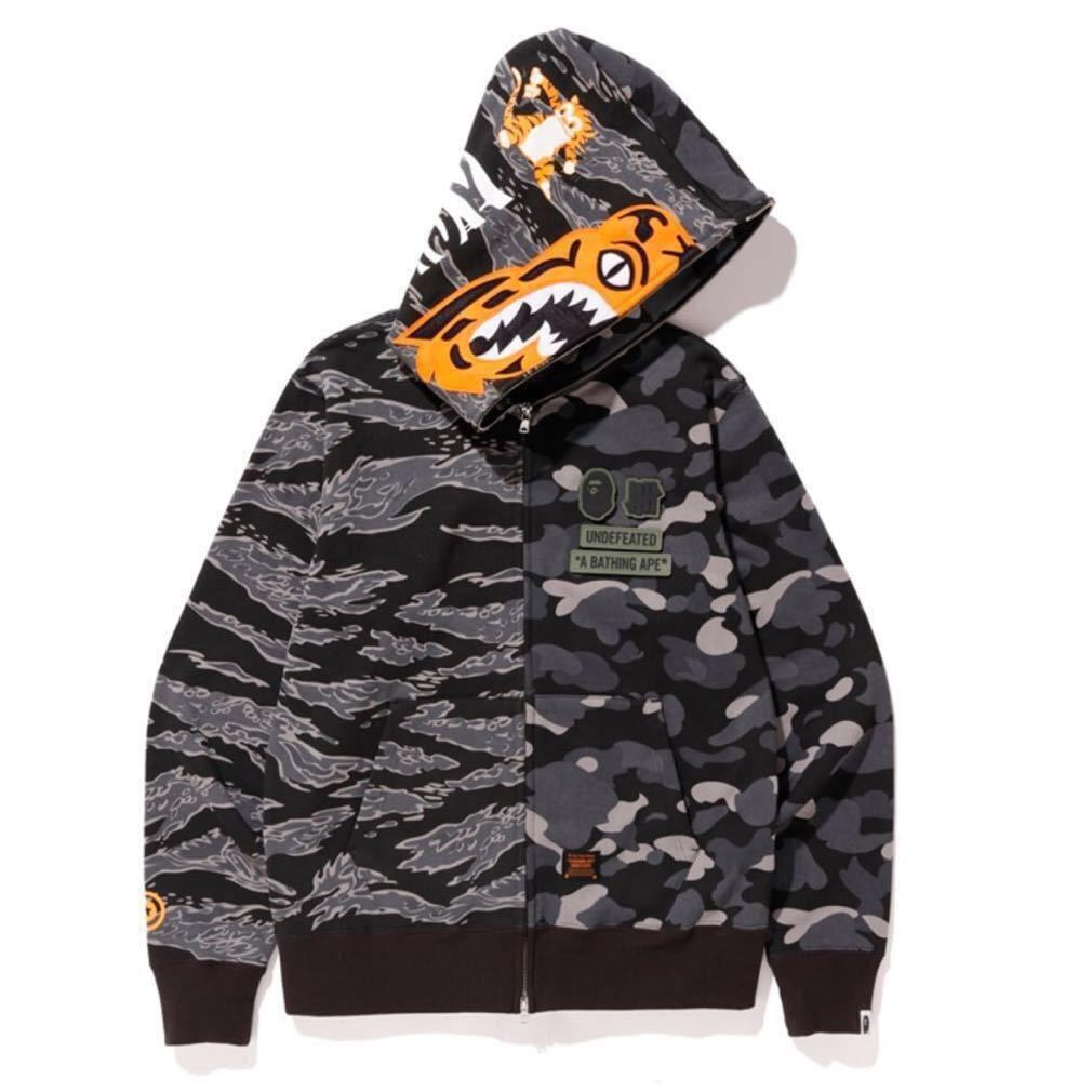 L BAPE UNDFTD TIGER SHARK HALF FULL ZIP HOODIE APE undefeated timberland エイプ アンディフィーテッド シャーク パーカー 新品未使用