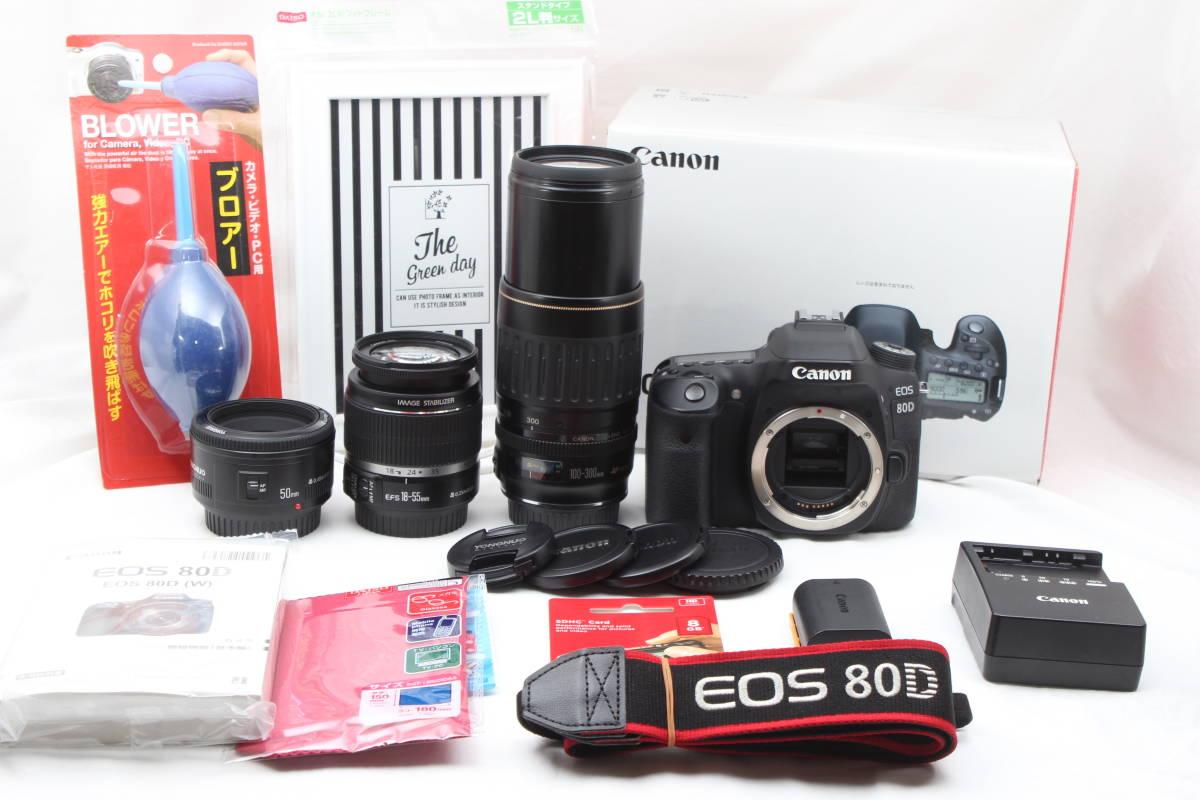 ★極上美品★ Canon キャノン EOS 80D 超望遠Wズーム & 単焦点トリプルレンズセット 5ヶ月保証&多数おまけ付き♪